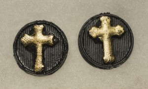 03006A Earrings, Gold Cross on button (coal)