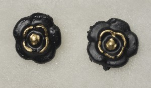03006G Earings, Rose with Gold (coal)