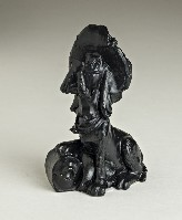 03095B Hound dog with hat (coal)