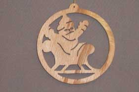 16043 Santa in Sleigh, cut-out ornament