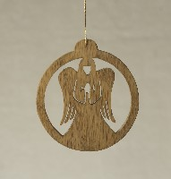 16121 Standing Angel in Circle, cut-out ornament