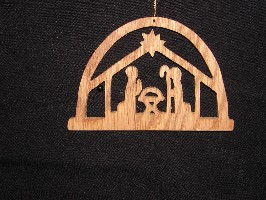 16129 Stable Nativity scene, cut-out ornament