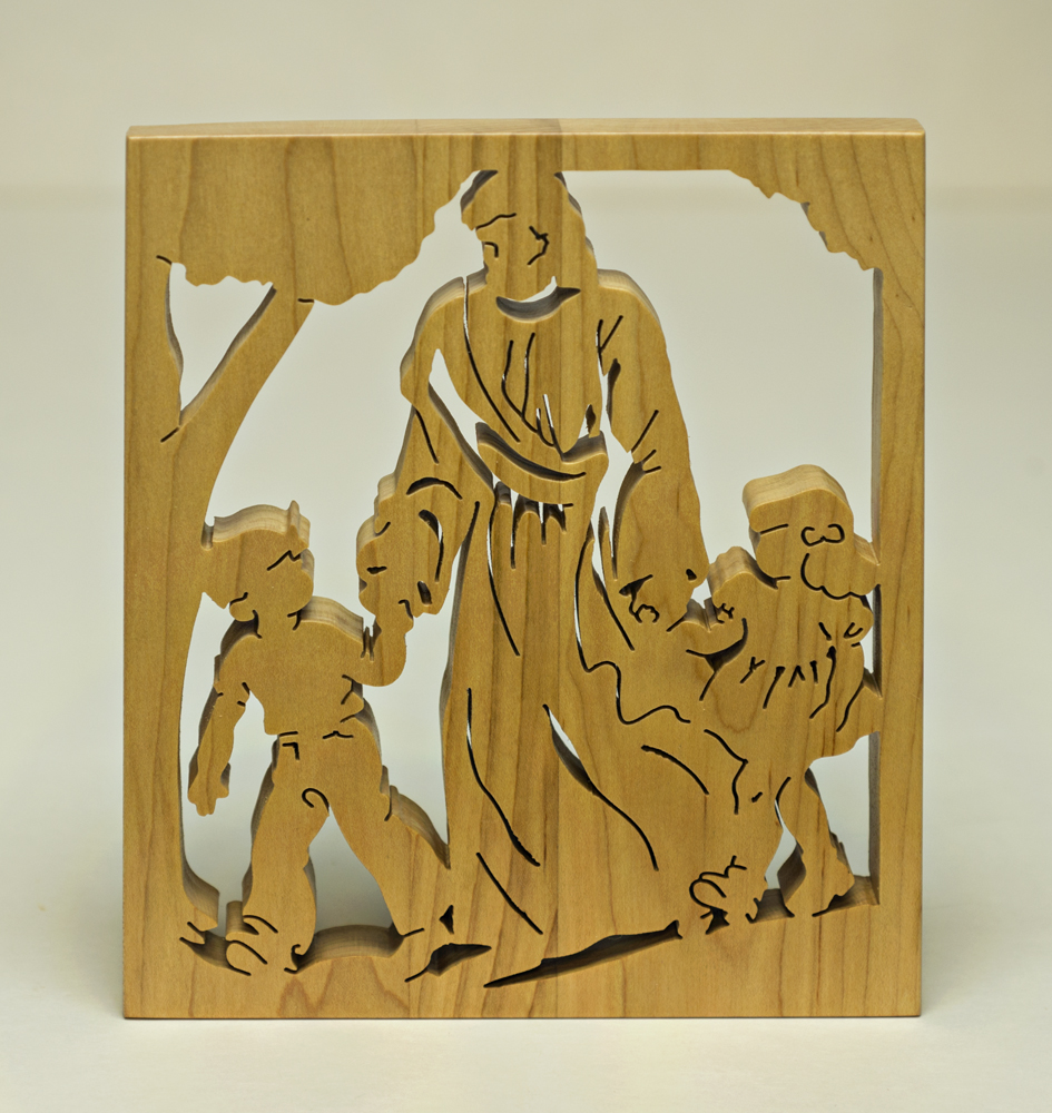 1723 Jesus walking with the children plaque