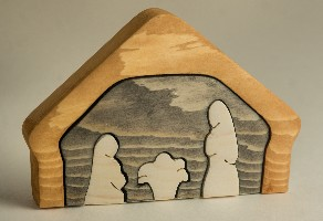 1780CS Nativity, push-out/puzzle, wood (5pc)