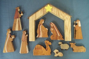 1786 Segmented Nativity Set, wood (10pc)