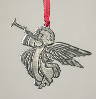 308487 Angel with Trumpet, Pewter ornament