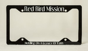 803A Black License Plate Frame with Red Bird Mission words