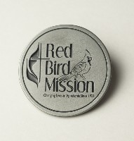 890 Round Pewter Red Bird Mission Logo